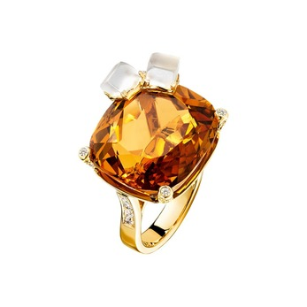 'Limelight' ring with citrine and quartz in yellow gold