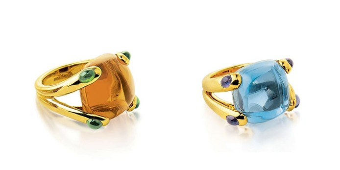 'Candy' rings with citrine, topaz and iolite in yellow gold