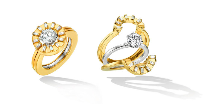 TU opening engagement ring in yellow gold with diamonds