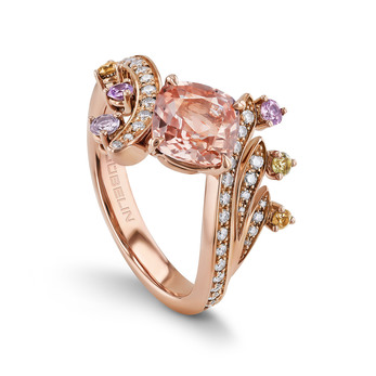 Aurora collection ring in rose gold with padparadscha sapphire, fancy colour sapphires and diamonds