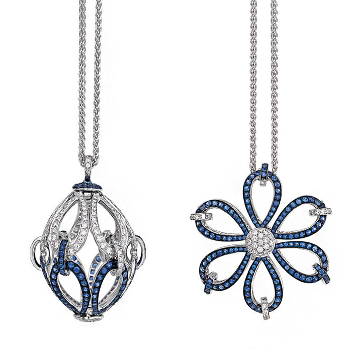 Plie' transformable necklace with sapphires and diamonds
