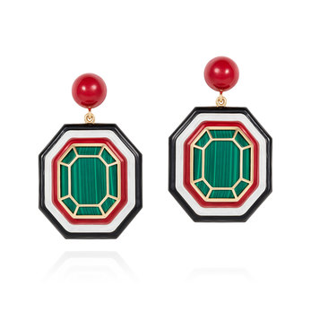 Grab and Go earrings in yellow gold, enamel and malachite