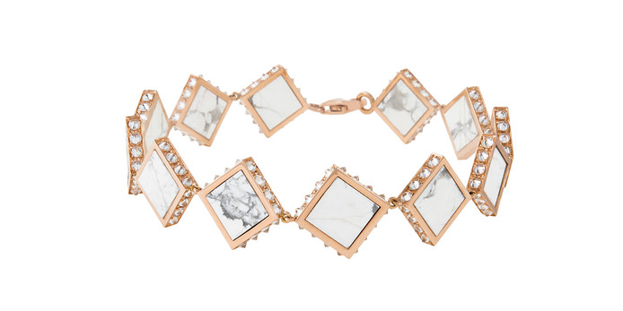 Tuwaiq collection bracelet with howlite and diamonds in rose gold