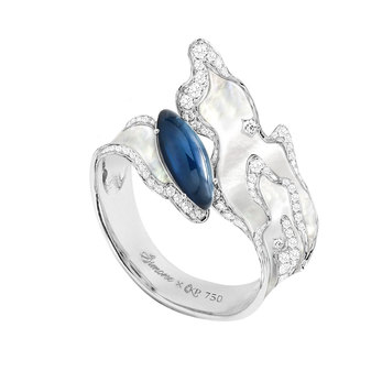 'Simone X Katerina Perez' capsule collection ring made in white gold with carved mother-of-pearl, cabochon cut sapphire and diamonds