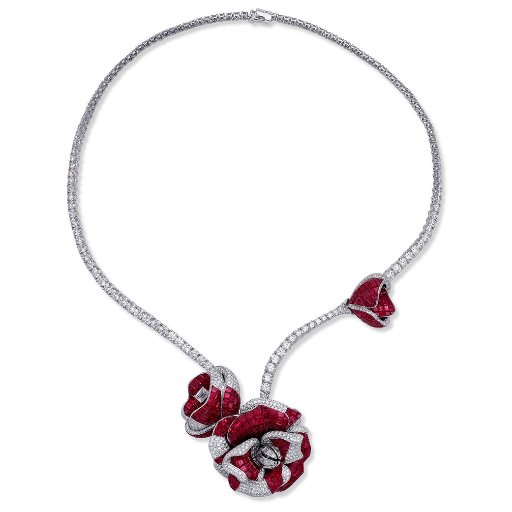 Peony Princess one-of-a-kind necklace with invisible setting rubies and diamonds