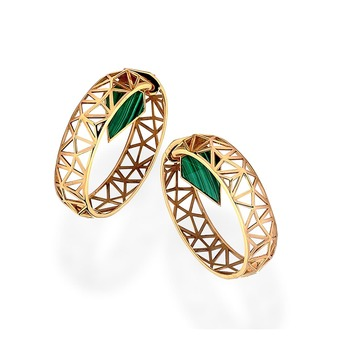 Mariana hoop earrings in yellow gold with malachites