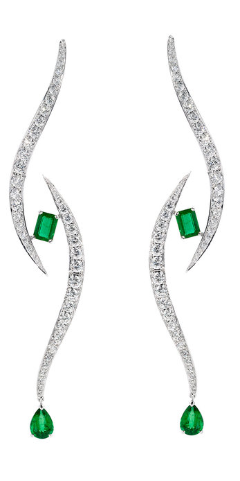 The Third Eye collection earrings with emeralds and diamonds