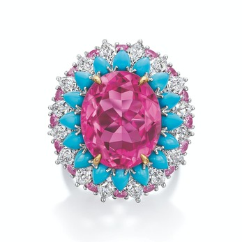 Winston Candy ring with 1 oval-shaped pink tourmaline weighing a total of 11.22 carats, pink sapphires and turquoise