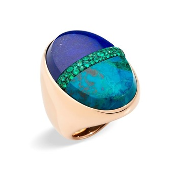 Pomellato Armonie Minerali ring with lapis lazuli, chrysocolla and emeralds