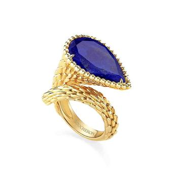 'Serpent Bohème' ring with lapis lazuli set in yellow gold
