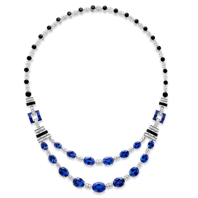 Rivière Art Deco necklace set with tourmalines, lapis lazuli and onyx, paved with diamonds, on white gold
