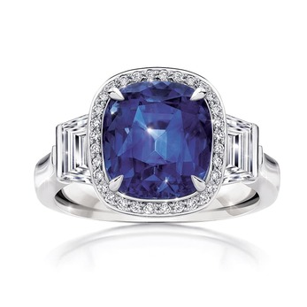 'Mariza' ring with a 6.37cts cushion-cut Madagascar sapphire and diamonds