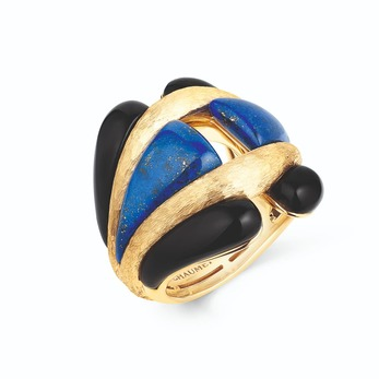 'Les Mondes de Chaumet' high jewellery ring with lapis lazuli and onyx set in yellow gold