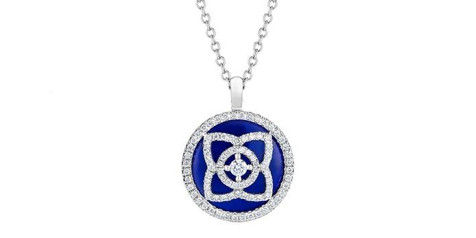 Кулон 'Enchanted Lotus' с бриллиантами и лазуритом