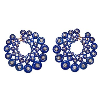 Earrings with lapis lazuli and diamonds