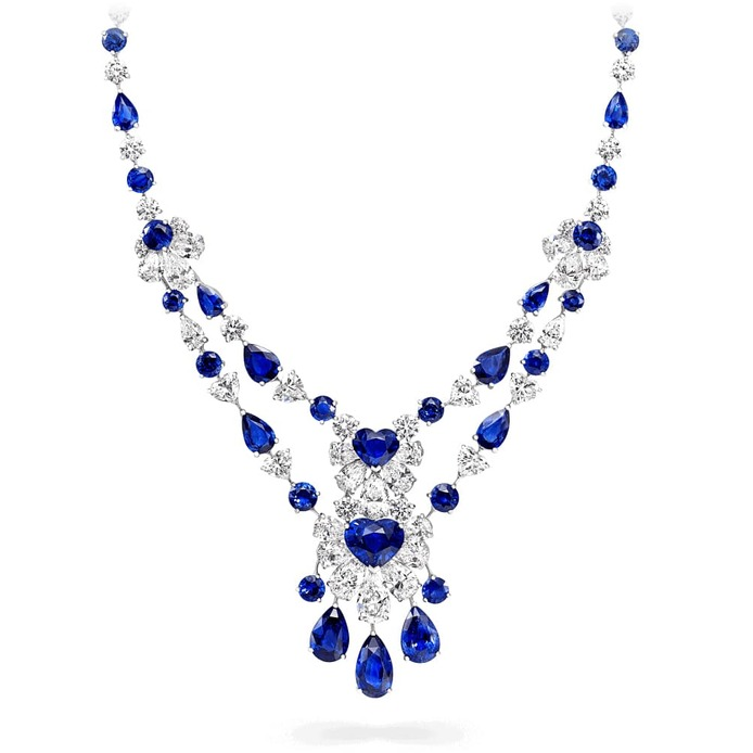 Necklace with 66.60 cts of sapphires and diamonds