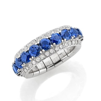 Stretchy Expandable collection ring with sapphires and diamonds