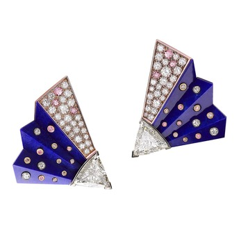 Fan earrings with lapis lazuli and diamonds