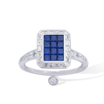 Candy Emerald ring with invisible set sapphires and diamonds set in 18K white gold