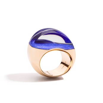 Aladino ring in 18K rose gold, lapis and rock crystal