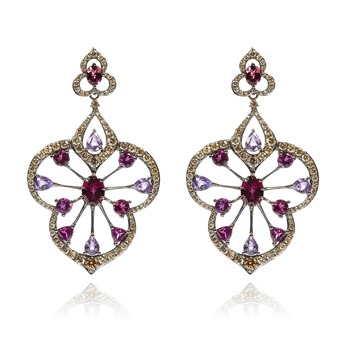 Earrings with imperial garnets, sapphires and diamonds in white gold