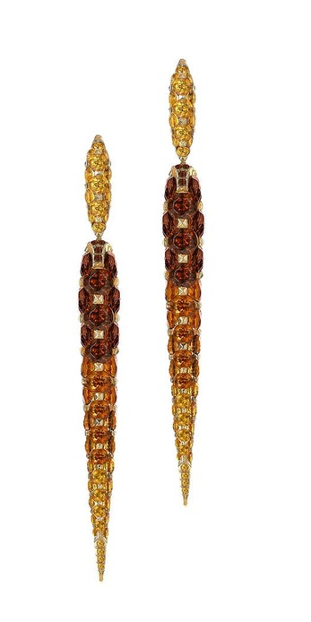 Limited edition earrings Merveilles Icicle drop earrings with brown, orange and yellow garnets in yellow gold