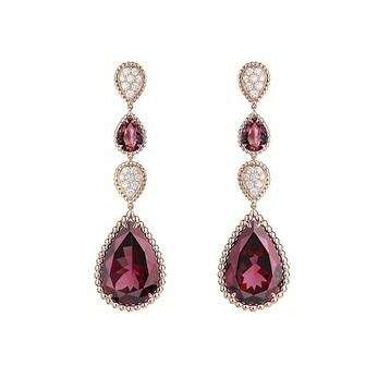 Serpent Boheme earrings with rhodolite garnets and diamonds in rose gold