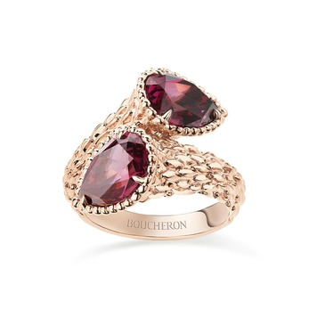 Serpent Boheme toi et moi ring with rhodolite garnet in rose gold
