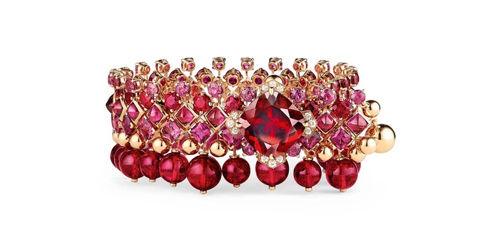 Chaumet est Une Fête collection Aria Passionata bracelet with 9.19ct rhodolite garnet, rubies, tourmalines and diamonds in rose gold and lacquer