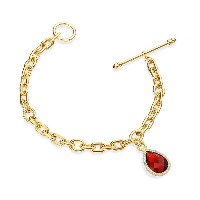 Flip Charm bracelet with garnet and diamonds in yellow gold