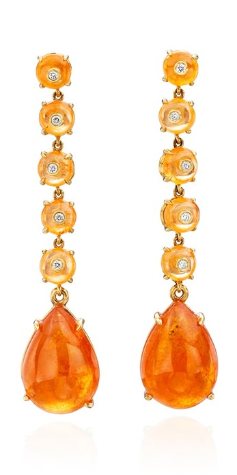 Earrings with 15ct cabochon spessartite garnet, spessartite garnet beads and diamonds in yellow gold