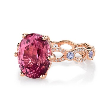 Annalise ring with 6.52ct garnet, lavender spinel and diamonds in rose gold