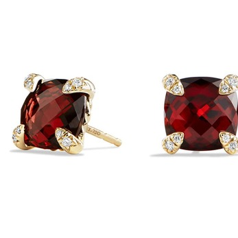 Châtelaine earrings with garnet and diamonds in yellow gold