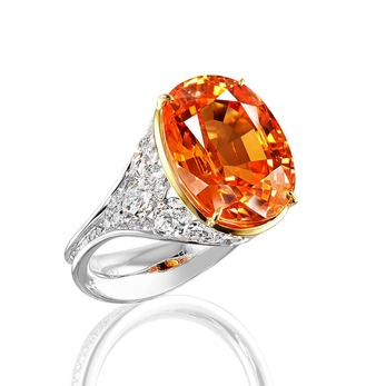 Ring with mandarin garnet and marquise diamonds in white gold