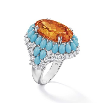 Candy collection ring with 16.69ct oval cut spessartite garnet, pear cut turquoise and diamonds in white gold