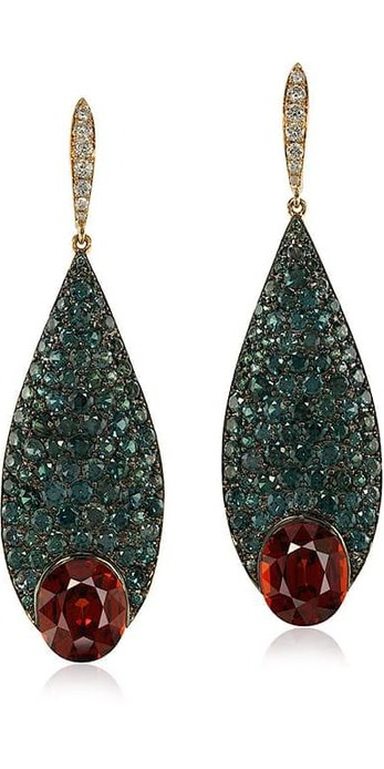 Earrings with 9.69ct spessartite garnets, 9.20ct colour changing garnets and spinels in pink and blackened gold