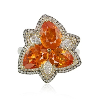 Earrings with 6.43ct mandarin garnet and diamonds in yellow and white gold