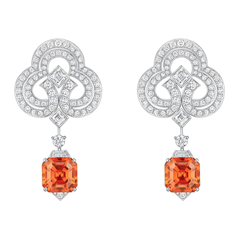 Conquêtes collection earrings with mandarin garnets and diamonds in white gold