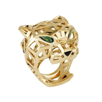 Panthere de Cartier ring with tsavorite garnets and onyx in yellow gold