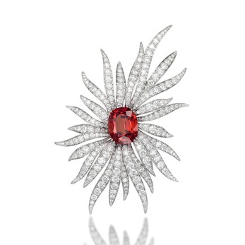 Brooch with 28.67ct cushion cut spessartite garnet and 26.39ct diamonds in white gold