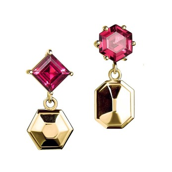 Puzzle earrings with rhodolite garnet in yellow gold