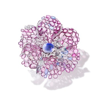 Icy Pink Dahlia brooch with 16.28ct moonstone, pink and blue sapphires and diamonds in white gold