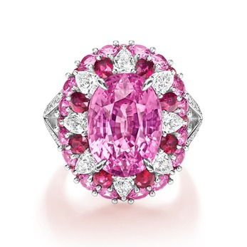 Harry Winston 'Winston Candy' ring with 10.59ct oval cut pink sapphire, oval cut and round cut rubies, pink sapphires, and pear cut and brilliant cut diamonds in platinum