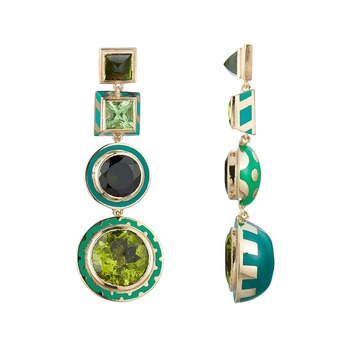 Memphis Candy earrings with peridot, tsavorite and tourmaline in enamel, lacquer and yellow gold