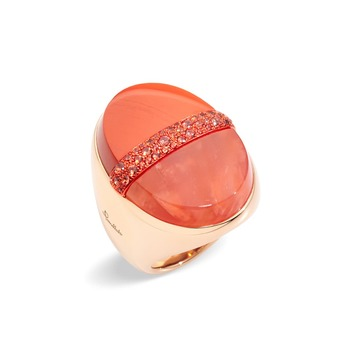 Orange du Maroc ring from Armonie Minerali collection with jasper, carnelian and orange sapphires in yellow gold