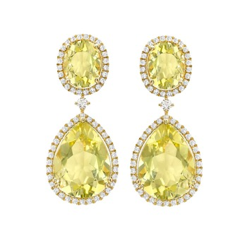 Earrings with lemon quartz and diamonds in yellow gold