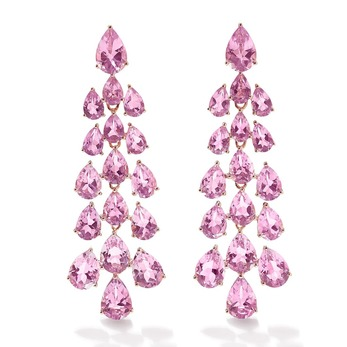 Waterfall Earrings with pink amethyst in yellow gold