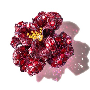 Peony brooch from the Rose collection rubies, diamonds and lacquer on titanium and white gold