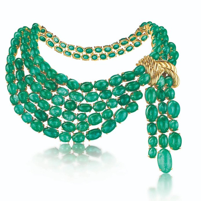 Scarf necklace with 568ct cabochon emeralds in yellow gold