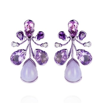 Orchidea earrings with amethyst, chalcedony and diamonds in white gold